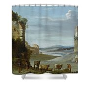 Roman Landscape With Ruins Shower Curtain
