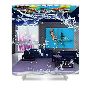 Rooftop Saltwater Fish Tank Art Shower Curtain