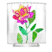 Rose, Watercolor Painting Shower Curtain