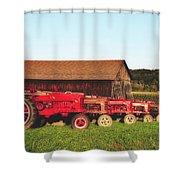 Row Of Antique Farmalls Shower Curtain