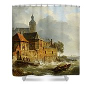 Rowing Boat In Stormy Seas Near A City Shower Curtain