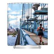 Running The Bridge Shower Curtain