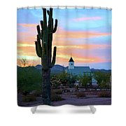 Saguaro Cactus And Church Shower Curtain