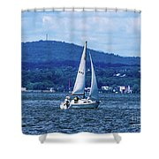 Sail Boat On The Hudson River Shower Curtain