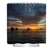 Sailing Boats At Sunset Boracay Tropical Island Philippines Shower Curtain