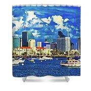 Sailing In San Diego Bay  Shower Curtain