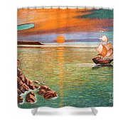 Sailing Ship And Castle Shower Curtain