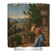 Saint Jerome In A Landscape Shower Curtain