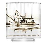 Salvage Barge, Delaware River, Philadelphia, C.1900 Shower Curtain
