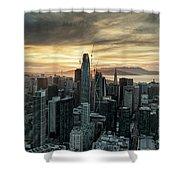 San Francisco City Skyline At Sunset Aerial Shower Curtain