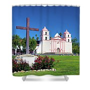 Santa Barbara Mission And Cross Shower Curtain