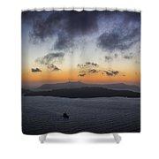 Santorini Caldera Sunset Shower Curtain