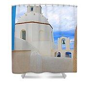 Santorini Church Dome Shower Curtain