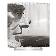 Scaling Mount Rushmore Shower Curtain