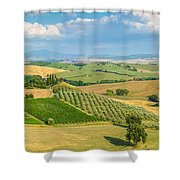 Scenic Tuscany Landscape At Sunset, Val D'orcia, Italy Shower Curtain