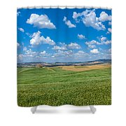 Scenic Tuscany Landscape With Rolling Hills In Val D'orcia, Ital Shower Curtain