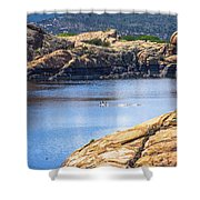 Scenic Willow Lake  Shower Curtain