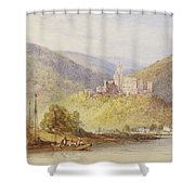 Schloss Stolzenfels From The Banks Of The Lahn Shower Curtain