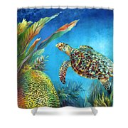 Sea Escape Iv - Hawksbill Turtle Flying Free Shower Curtain