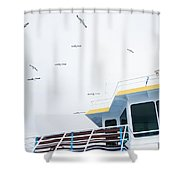 Seagulls Over Ferry Boat Shower Curtain