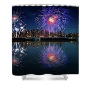 Seattle Skyline And Fireworks Shower Curtain