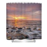 Seawall Sunrise Shower Curtain