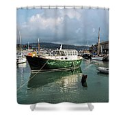 September Morning - Lyme Regis Harbour Shower Curtain
