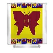 Serendipity Butterflies Brickgoldblue 5 Shower Curtain