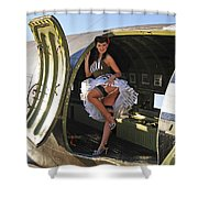 Sexy 1940s Style Pin-up Girl Standing Shower Curtain