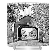 Shimanek Covered Bridge -surreal Bw Shower Curtain