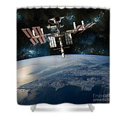 Shuttle Docked At Space Station Shower Curtain