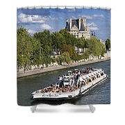 Sightseeing Boat On River Seine To Louvre Museum. Paris Shower Curtain
