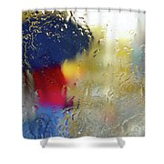 Silhouette In The Rain Shower Curtain by Carlos Caetano