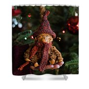 Silly Old Monkey Toy In A Child Hands Under The Christmas Tree Shower Curtain