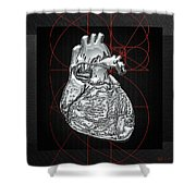 Silver Human Heart On Black Canvas Shower Curtain by Serge Averbukh