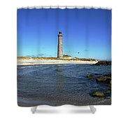 Skagen Denmark - Lighthouse Grey Tower Shower Curtain