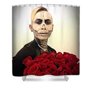 Skull Tux And Roses Shower Curtain