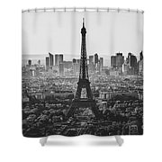 Skyline Of Paris In Black And White Shower Curtain