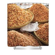 Small Asian Dried Shrimp In Kep Market Cambodia Shower Curtain