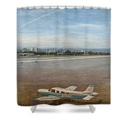 Small City Airport Plane Taking Off Shower Curtain