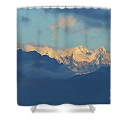Snow Capped Dolomite Mountains In The Countryside Of Italy  Shower Curtain