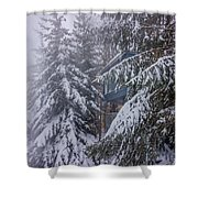 Snow Covered Trees In The North Carolina Mountains During Winter Shower Curtain