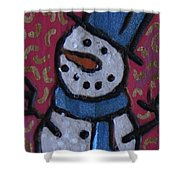 Wood Burned Snowman Series Shower Curtain