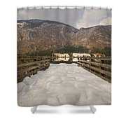 Snowy Alpine Lake Shower Curtain