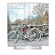 snowy Amsterdam in the Netherlands Shower Curtain