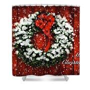 Snowy Christmas Wreath Card Shower Curtain