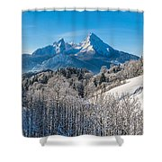 Snowy Church In The Bavarian Alps In Winter Shower Curtain