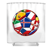 Soccer Ball With Flag Of Iceland In The Center Shower Curtain