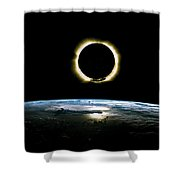 Solar Eclipse From Above The Earth - Infrared View Shower Curtain
