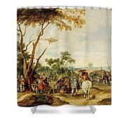 Soldiers Bivouacking Shower Curtain